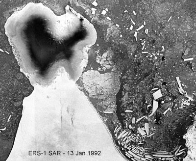 Satellite image of Wilkins Ice Shelf 1992